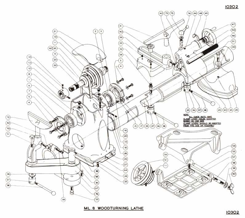 Expanded diagram of Ml8 woodturning lathe
